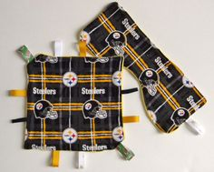 Pittsburgh Steelerss Handmade Baby Sensory Ribbon, Lovey Taggie Blanket + Burpie #OhSewKnotty