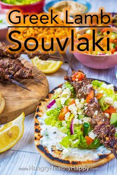 This homemade Greek Lamb Souvlaki tastes just like you would find down a side street in Greece. Serve with flatbreads and tzatziki for an authentic recipe. Tzatziki, Cooking On The Grill, Moussaka, Evening Meals, Greek Recipes, A Food, Olive Oil, Tasty, Stuffed Peppers