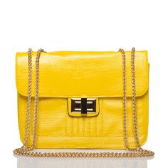 Textured faux patent leather purse with chain strap in bright yellow