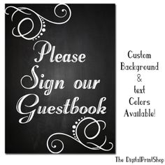 Custom Chalkboard Guestbook 4 Sign Rustic Wedding Decoration Digital Printable Able