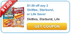 freebies2deals.com - $1.00 off any 2 Skittles, Starburst, or Life Saver