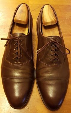Vtg., The Florsheim Shoe, Dark Brown, Leather, Oxford Shoes (Size 12 D)…