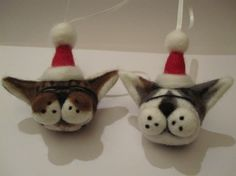 Two custom needlefelted stupidcat Christmas decorations. These were based on photos of the customer's real-life cats! 2010-2012