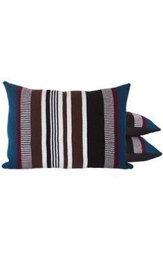 teal, cranberry + chocolate alpaca frazada pillows. chocolate linen-backed.