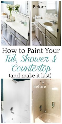 Ideas Diy Bathroom Renovation Cheap How To Paint For 2019 Painting A Sink, Painting Shower, Painting A Bathroom, Tub And Tile Paint, Bathtub Paint, Painted Tile Bathrooms, How To Paint Tiles, Shower Tile Paint, Updating Bathrooms