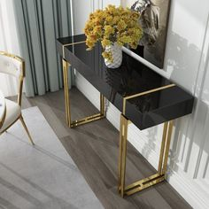 Modern Luxury White / Black Console Table with Drawer Storage Rectangular Entryway Table Stainless Steel in Gold - Home Decor Living Room Modern Decor, Modern Luxury, Modern Table Design, Luxury Console, Luxury Furniture, Modern Console, Modern Console Tables, Luxury Home Decor, Console Table Styling