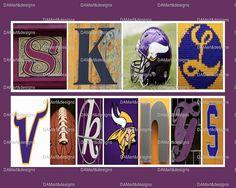 Minnesota Vikings Framed Alphabet Photo Art by DAMartndesign, $39.00