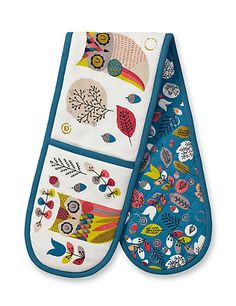 Owl Print Double Oven Gloves | M&S