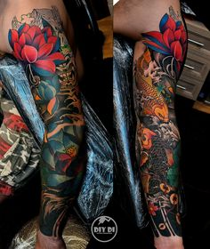 Tattoo Diy Di - tattoo's photo In the style Oriental, Male, Carps, Flowe Arm Tattoos Color, Full Sleeve Tattoos, Color Tattoo, Leg Tattoos, Tattoos For Guys, Koi Tattoo Sleeve, Japanese Sleeve Tattoos, Tattoo Sleeve Designs, Japanese Flower Tattoo