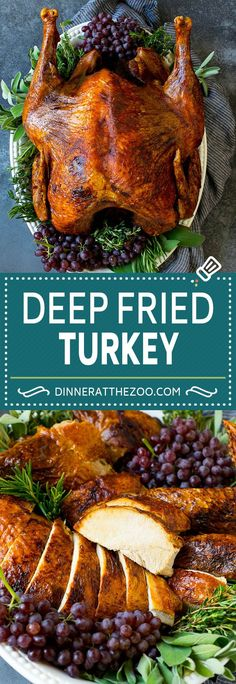 This deep fried turkey is brined in a mix of herbs and citrus, then fried to golden brown. Fried turkey is crispy on the outside, and juicy on the inside. Thanksgiving Dinner Recipes, Holiday Recipes, Recipes Dinner, Breakfast Recipes, Dessert Recipes, Cooking Turkey, Chicken Recipes, Fry Turkey Recipes, Potato Recipes