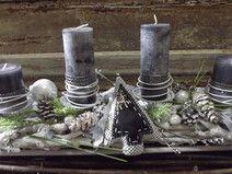 Adventsgesteck,Adventskranz,weiß-anthrazit,modern