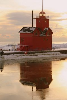 Holland Harbor Lighthouse - Holland, Michigan.  I grew up in Holland and have this lighthouse for a Christmas ornament.
