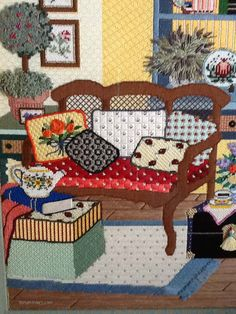 """Stitched by Kay Hawthorne. Sandra Gilmore room needlepoint canvas, """"Provence"""" SG-18-529. Stitch and Thread Guide by Tony Minieri. ©2016 Anthony Minieri® All Rights Reserved"""