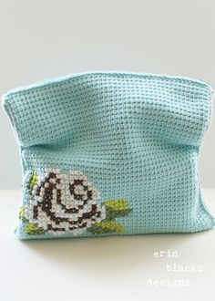 "Ravelry: Cotton Brown Rose Bloom Clutch (11"" x 11"") (tunisian009) pattern by Erin Black"