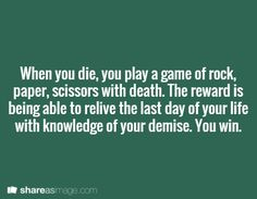 Rock, Paper, Scissors with Death Writing Prompt