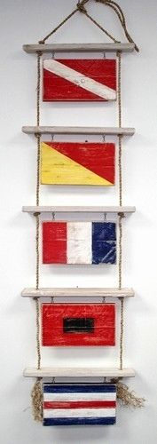 """Nautical Charts of Cape Cod and the Islands Boat Rope Ladder Display This Nautical Boat Rope Display can hold up to five 7""""x12"""" Wooden Nautical Flags. It comes with the necessary hardware to assemble. You can select your own flags above to customize your display. Display may be hung indoors or out in a covered area. Light assembly required. Instructions included."""