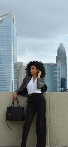 White Collar Glam, Charlotte, NC, attorney outfit, black attorney, mixed girl, professional clothes, work outfit, work clothes, office outfits, workwear, natural curls, curly hair, wash and go, natural hair, women's work wardrobe, black blogger, photography, mixed model, corporate photography, business casual, white blouse, H&M, black slacks, wide-leg pants