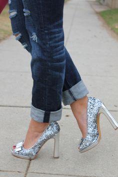 How To Wear Sparkly Shoes - Part I: Pair with boyfriend denim & blazer