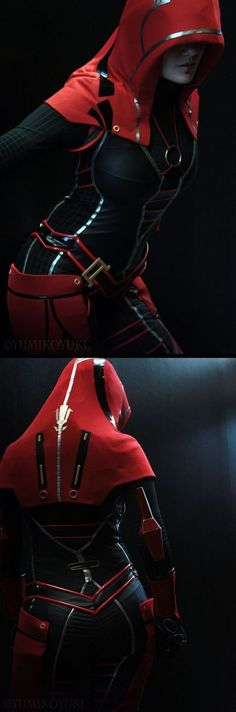 Dystopian futuristic hooded suit in red