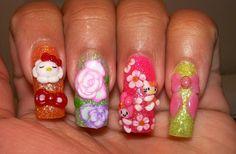 DIY ~ cute! My melody and Hello Kitty nail art.
