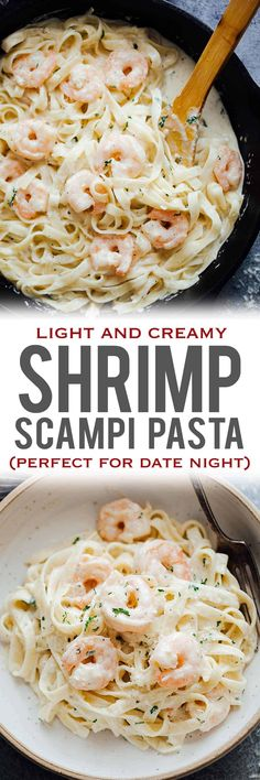 Creamy shrimp scampi pasta is a quick pasta recipe where prawn or shrimp is tossed in a garlic, butter and white wine sauce. Simple, yet indulgent, this recipe is perfect for date night or when you want fast, easy dinners.