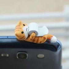 New 3.5mm Lovely Cat Phone Ear Cap Cute Anti-Dust Jack Plug~Loving Toilet Roll