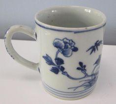 CHINESE C18th KANGXI ANTIQUE BLUE &WHITE COFFEE CAN CIRCA 1720  £32