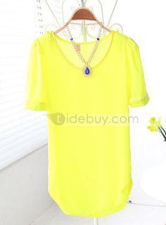 熱い販売和風ラウンドネックピュアカラーシフォンTシャツ