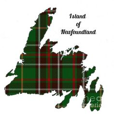 Newfoundland Map Outline With Tartan Inset by Barbara Griffin. The island of Newfoundland, Canada, with the provincial tartan plaid displayed in the outline. Newfoundland Map, Newfoundland And Labrador, Embroidery Patterns, Quilt Patterns, Knitting Patterns, Sewing Patterns, Flag Quilt, Quilt Blocks, Cute Christmas Wallpaper