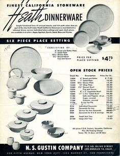 """""""This is the earliest Heath Ceramics promotional material by the N.S. Gustin Co. that has been located.  In 1947 many design elements were refined—the teapot handle, the creamer and sugar bowl, the salt and pepper shakers and the design of the knob on the lids of the casseroles, as well as the tab handles on the bottom."""""""