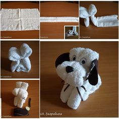 DIY Super Easy Towel Folded Puppy tutorial and instruction. Follow us: www.facebook.com/fabartdiy