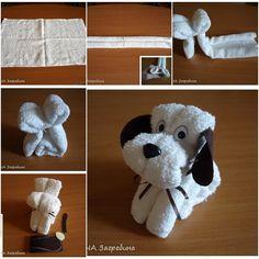 DIY Super Easy Towel Folded Puppy tutorial and instruction. Follow us: www.facebook.com/fabartdiy