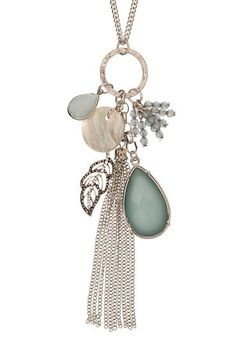 blue stone and feather charm cluster necklace (original price, $14) available at #Maurices