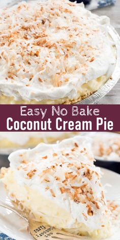 No Cook Desserts, Best Dessert Recipes, Pie Recipes, Great Recipes, Cream Pie, Whipped Cream, Coconut Pudding, Oreo Crust, No Bake Pies