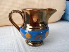 "Antique Copper Luster Lustre Ware Mini Pitcher Blue Band Ocher Spot 2 1/2"" Tall"