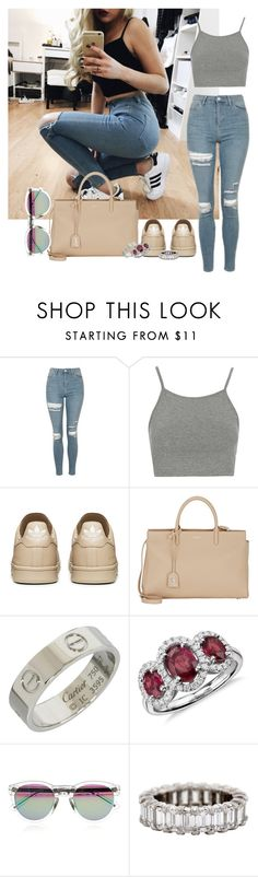 """Bez naslova #5823"" by unorthodox-1 ❤ liked on Polyvore featuring Topshop, Yves Saint Laurent, Cartier, Blue Nile and rag & bone"