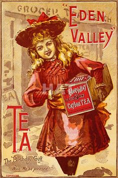 depicts Victorian girl walking home from grocer carrying a box of Eden Valley Ceylon Tea as a birthday gift for her mother Vintage Labels, Vintage Tea, Vintage Cards, Vintage Images, Vintage Posters, Retro Advertising, Vintage Advertisements, Retro Ads, Tea Art
