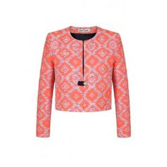 Fran & Jane Delia 1 - Coral and Silver Jacquard Jacket with Clasp - Periwinkle Blue, Print Jacket, Feminine, Spring Summer, Glamour, Couture, Suits, Coat, Mens Tops