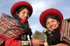 Girls at textile factory in Peru smiling