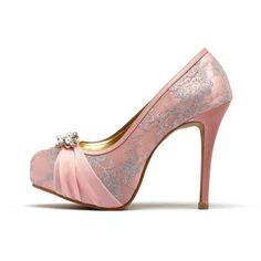 Baby Pink Wedding Heels Pink Chiffon Wedding by ChristyNgShoes