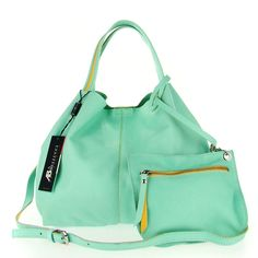 893323095b37 ASIA BELLUCCI Italian Made Pastel Mint Soft Leather Small Slouchy Designer  Tote with Pouch