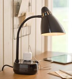 Table/Desk Lamp With Two Outlets