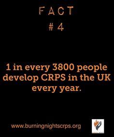 Fact 4 for Complex Regional Pain Syndrome awareness month | 1 in 3800 people are diagnosed with CRPS in the U.K. every year | Burning Nights CRPS Support | www.burningnightscrps.org | #CRPS #RSD #CRPSOrangeDay #crpssupport
