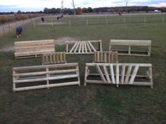 cross country horse jumps. With some vivid paint these could be arena jumps.