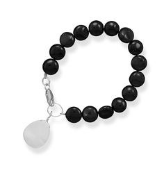 Black Onyx Coin Bracelet with Shell Drop