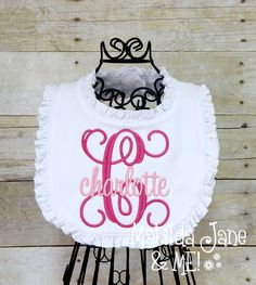 Sewing Baby Gift Baby GIRL Ruffled Bib, Personalized Monogrammed Embroidered Bib, Fabric Baby Coming Home Gift, Shower Gift, Babies Accessories by ThePerfectWallet on Etsy - Baby Monogram, Monogram Gifts, Baby Bibs Patterns, Easy Baby Blanket, Bib Pattern, Baby Sewing Projects, Burp Cloth Set, Embroidery Monogram, Mom Outfits