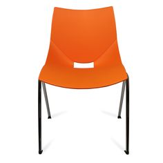 Color: Orange Shell chairs by Italian designer Angelo Pinaffo are lightweight, stackable, and durable with a unique and elegant design. Eight designer colors from beige to bold orange make these the perfect chairs for any decor. The Shell chairs fit as well in the dining room as they do in a home office. The shells are designed for superior strength in the seams where other chairs tend to break down. The legs are made of premium steel with a chrome finish for superior quality.