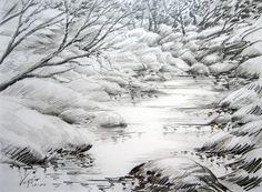 Secret Bush Pond - 25x33cm Pencil drawing. David Voigt, Bungendore Wood Works Gallery 2012