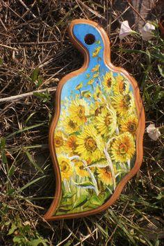 Decorative board  Handemade Wall decor  Kitchen board  Wood art  Wooden board  Paiting  Sunflowers  Home decor