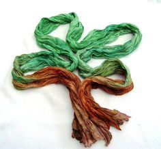 Forest Hand painted crinkle silk scarf